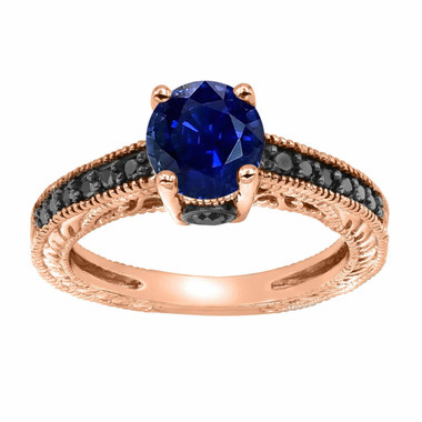 Vintage Style Blue Sapphire Engagement Ring, With Black Diamonds Wedding Ring 14K Rose Gold 1.26 Carat Unique Pave Handmade Certified