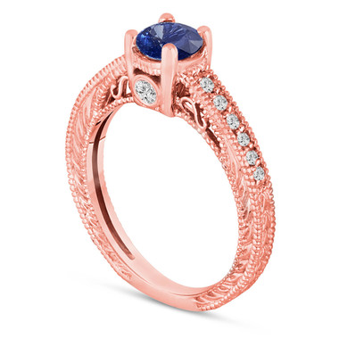 Sapphire Engagement Ring, With Diamonds Wedding Ring 14K Rose Gold Unique Vintage Style 0.71 Carat Pave Handmade Certified