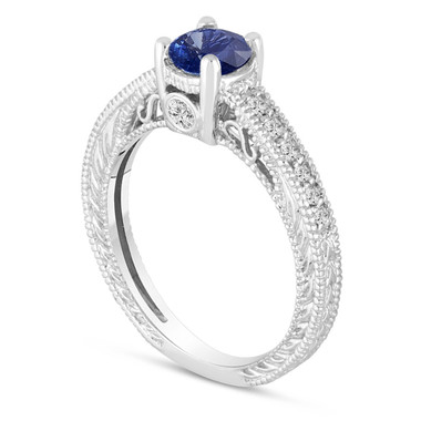Sapphire Engagement Ring, With Diamonds Wedding Ring 14K White Gold Unique Vintage Style 0.71 Carat Pave Handmade Certified