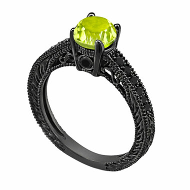 0.70 Carat Peridot Engagement Ring, Wedding Ring 14K Black Gold Vintage Antique Style Engraved Unique Certified Handmade