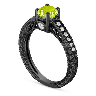 0.70 Carat Green Peridot Engagement Ring, Wedding Ring 14K Black Gold Vintage Antique Style Engraved Unique Certified Handmade