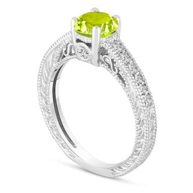 0.70 Carat Green Peridot Engagement Ring, Wedding Ring 14K White Gold Vintage Antique Style Engraved Unique Certified Handmade