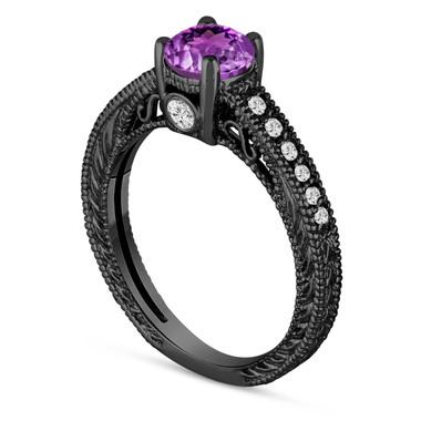 0.70 Carat Purple Amethyst Engagement Ring, Wedding Ring 14K Black Gold Vintage Antique Style Engraved Unique Certified Handmade
