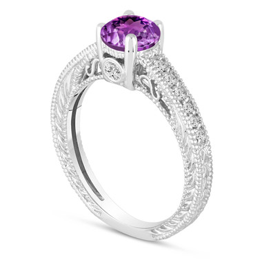 0.70 Carat Purple Amethyst Engagement Ring, Wedding Ring 14K White Gold Vintage Antique Style Engraved Unique Certified Handmade