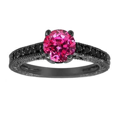 1.26 Carat Pink Sapphire Engagement Ring, With Black Diamonds Wedding Ring 14K Black Gold Unique Vintage Style Pave Handmade Certified