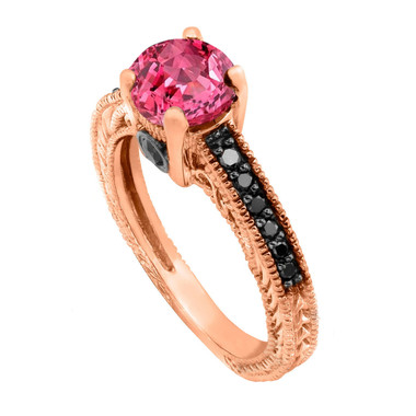 0.74 Carat Pink Sapphire Engagement Ring, Wedding Ring 14K Rose Gold Unique Vintage Style Pave Handmade Certified