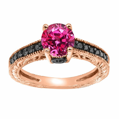 1.26 Carat Pink Sapphire Engagement Ring, With Black Diamonds Wedding Ring 14K Rose Gold Unique Vintage Style Pave Handmade Certified