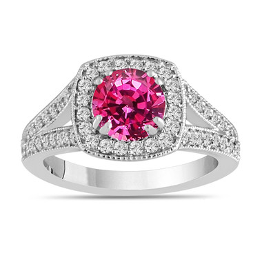 Pink Sapphire Engagement Ring, With Diamonds Wedding Ring 14K White Gold 1.71 Carat Unique Halo Pave Handmade Certified