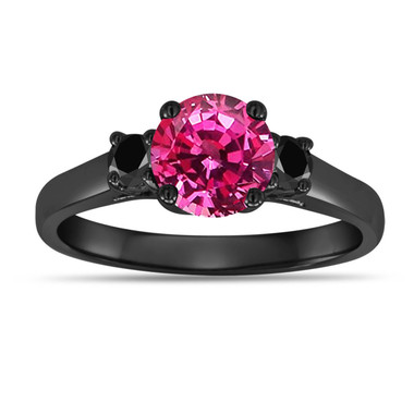 1.32 Carat Pink Sapphire Three Stone Engagement Ring, With Black Diamonds Wedding Ring 14K Black Gold Unique Vintage Style Handmade
