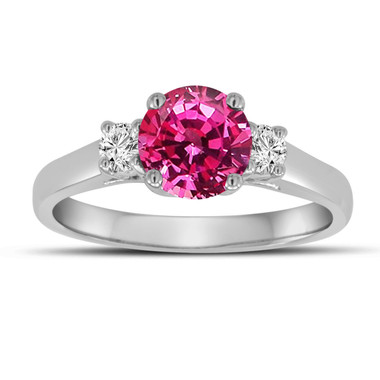 Pink Sapphire Three Stone Engagement Ring, With Diamonds Wedding Ring 1.26 Carat 14K White Gold Certified Unique Handmade