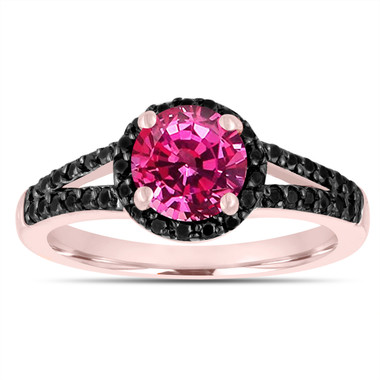 1.55 Carat Pink Sapphire Engagement Ring, With Black Diamonds Wedding Ring 14K Rose Gold Unique Halo Pave Handmade Certified