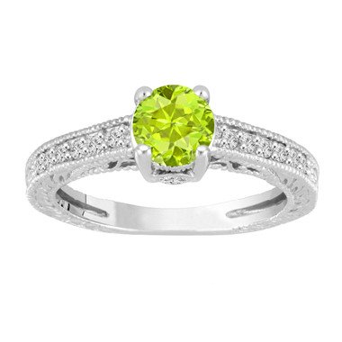 1.20 Carat Green Peridot Engagement Ring With Diamonds Wedding Ring 14K White Gold Vintage Antique Style Engraved Unique Certified Handmade