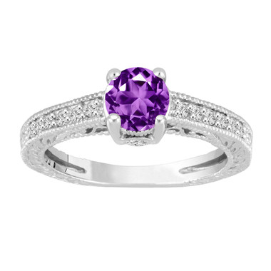 1.20 Carat Amethyst Engagement Ring With Diamonds Wedding Ring 14K White Gold Vintage Antique Style Engraved Unique Handmade