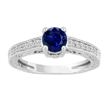 1.20 Carat Blue Sapphire Engagement Ring, Wedding Ring 14K White Gold Unique Vintage Style Pave Handmade Certified