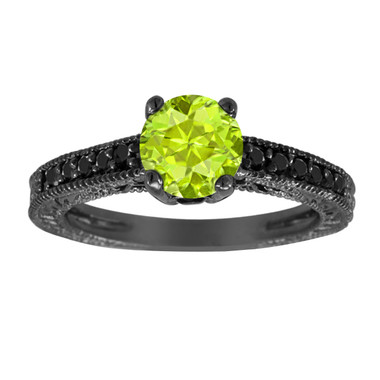 1.20 Carat Peridot Engagement Ring, Wedding Ring 14K Black Gold Vintage Antique Style Engraved Unique Certified Handmade