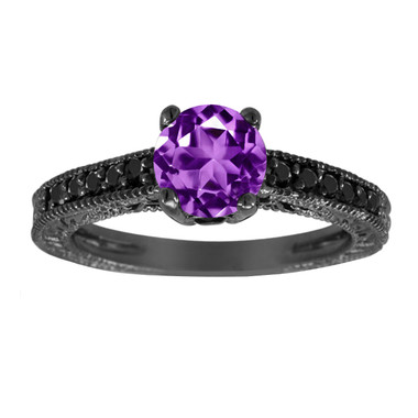 1.20 Carat Amethyst Engagement Ring, Wedding Ring 14K Black Gold Vintage Antique Style Engraved Unique Certified Handmade