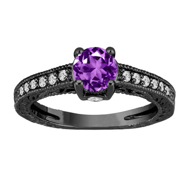 1.20 Carat Purple Amethyst Engagement Ring, Wedding Ring 14K Black Gold Vintage Antique Style Engraved Unique Certified Handmade