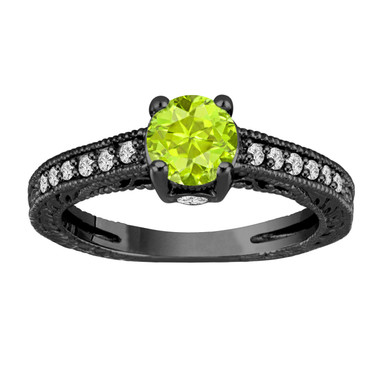 1.20 Carat Peridot Engagement Ring, With Diamonds Wedding Ring 14K Black Gold Vintage Antique Style Engraved Unique Certified Handmade