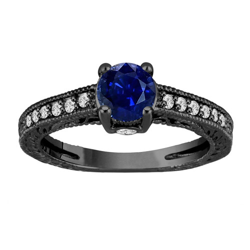 1.20 Carat Sapphire Engagement Ring, With Diamonds Wedding Ring 14K Black Gold Unique Vintage Style Pave Handmade Certified