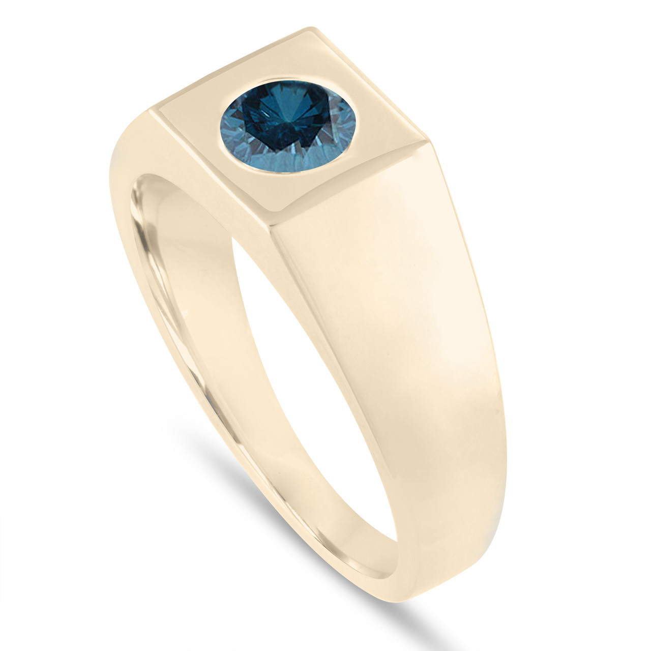 Wedding Ring For Men.0 90 Carat Men S Blue Diamond Solitaire Wedding Ring Mens Engagement Ring 14k Yellow Gold Handmade