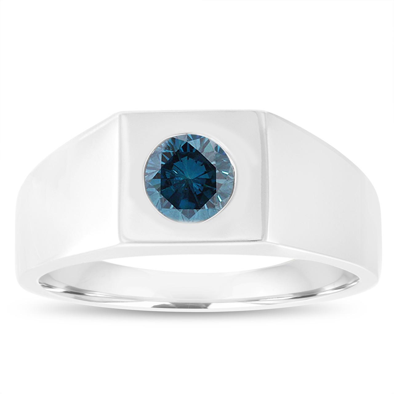 0f3a2bcd188d0 Men's Blue Diamond Solitaire Engagement Ring, Mens Wedding Ring 14K White  Gold 0.90 Carat Handmade