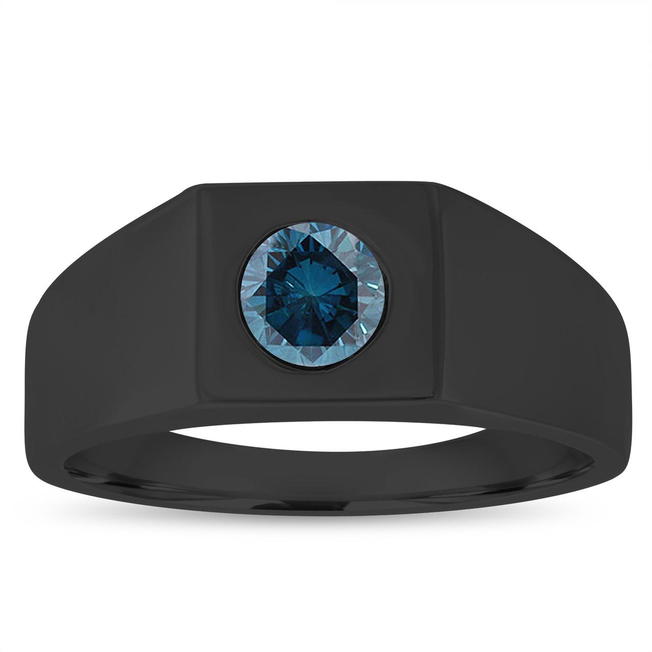 1.00 Carat Men's Blue Diamond Wedding Ring, Mens Solitaire