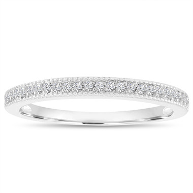 0.14 Carat Diamond Wedding Ring, Wedding Band, Half Eternity Anniversary Ring, Micro Pave Thin Diamond Band 14K White Gold handmade