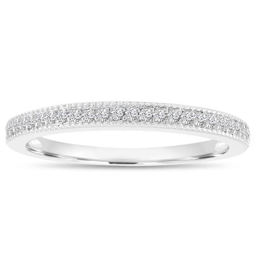 0.14 Carat Diamond Wedding Ring, Wedding Band, Half Eternity Anniversary Ring, Micro Pave Thin Diamond Band 14K White Gold handmade
