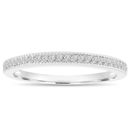 18K White Gold Diamond Wedding Band, Wedding Ring, Half Eternity Anniversary Ring, Micro Pave Thin Diamond Band 0.14 Carat handmade