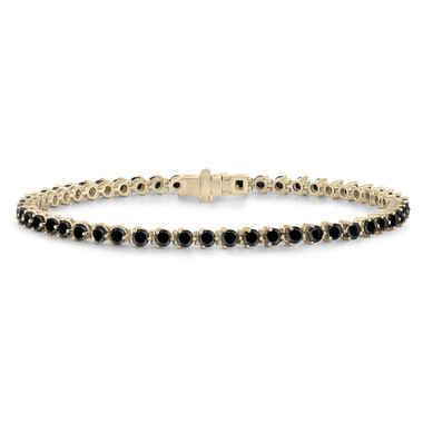 Natural Black Diamonds Tennis Bracelet 3 Prong Martini Bracelet 4.60 Carat 14k Yellow Gold Handmade