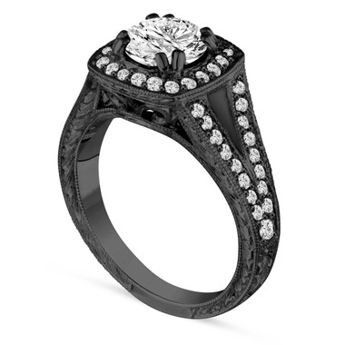 1.46 Carat Diamond Engagement Ring, Vintage Wedding Ring, Unique Antique Style Hand Engraved 14K Black Gold GIA Certified Halo Pave handmade
