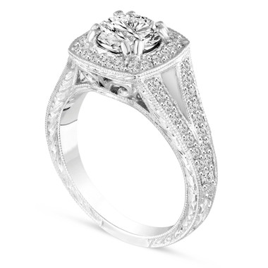 1.56 Carat Unique Diamond Engagement Ring, Platinum Wedding Ring GIA Certified Vintage Antique Style Hand Engraved Halo Pave handmade