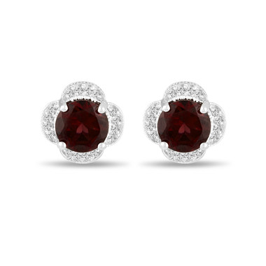 4.02 Carat Garnet Stud Earrings, Diamond Flower Clover Cluster Earrings 14K White Gold Halo Pave Handmade Unique