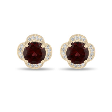 4.02 Carat Red Garnet Cluster Earrings, Diamond Flower Clover Stud Earrings 14K Yellow Gold Halo Pave Handmade Unique