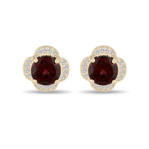 4.02 Carat Red Garnet Cluster Earrings, Diamond Flower Clover Stud Earrings 14K Yellow Gold Halo Pave Handmade Unique