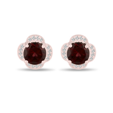 4.02 Carat Garnet Cluster Earrings, Diamond Flower Clover Stud Earrings 14K Rose Gold Halo Pave Handmade Unique