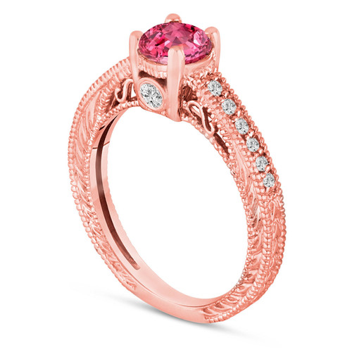0.70 Carat Pink Sapphire Engagement Ring, 14K Rose Gold Wedding Ring Unique Vintage Style Pave Handmade Certified