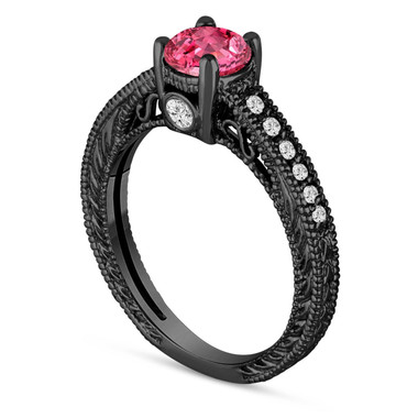 0.70 Carat Pink Sapphire Engagement Ring, Wedding Ring 14K Black Gold Unique Vintage Style Pave Handmade Certified