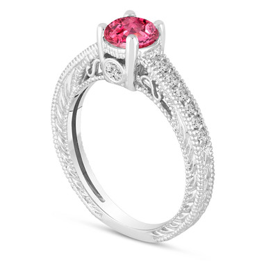 0.70 Carat Pink Sapphire Engagement Ring, Wedding Ring 14K White Gold Unique Vintage Style Pave Handmade Certified