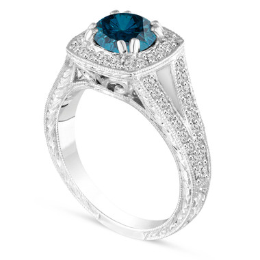 1.56 Carat Blue Diamond Engagement Ring, Wedding Ring Vintage Antique Style Hand Engraved Certified 14K White Gold Unique Halo Pave handmade