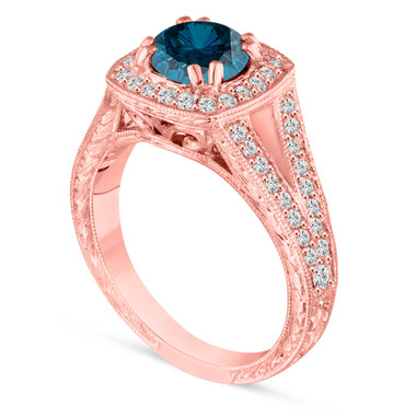 1.56 Carat Blue Diamond Engagement Ring, Unique Wedding Ring 14K Rose Gold Vintage Antique Style Hand Engraved Certified Halo Pave handmade