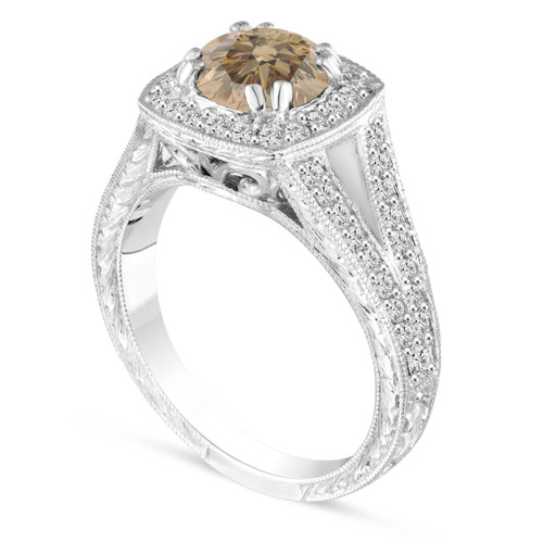 1.56 Carat Champagne Brown Diamond Engagement Ring, Fancy Wedding Ring Vintage Antique Style Hand Engraved 14K White Gold Unique handmade