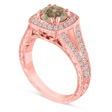 Fancy Champagne Brown Diamond Engagement Ring, Wedding Ring 1.56 Carat Vintage Antique Style Hand Engraved 14K Rose Gold Unique handmade