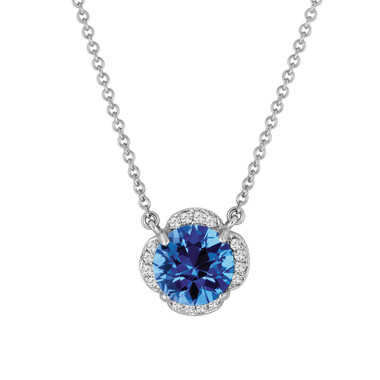 Blue Topaz And Diamonds Solitaire Pendant Necklace Flower 14k White Gold 1.92 Carat Certified Handmade