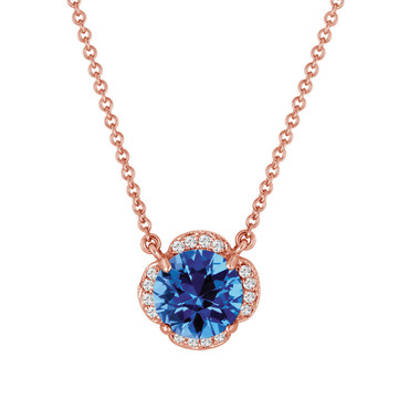 Blue Topaz Solitaire Pendant Necklace Flower 14k Rose Gold 1.92 Carat Certified Handmade