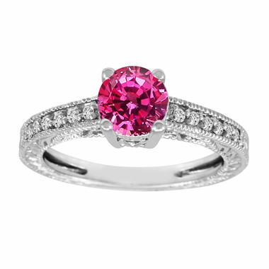 1.16 Carat Pink Sapphire Engagement Ring, Wedding Ring 14K White Gold Unique Vintage Style Pave Handmade Certified