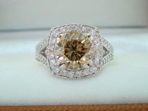 3.27 Carat Fancy Champagne Brown Diamond Engagement Ring, Platinum Wedding Ring Vintage Style Hand Engraved Certified Handmade Unique Halo