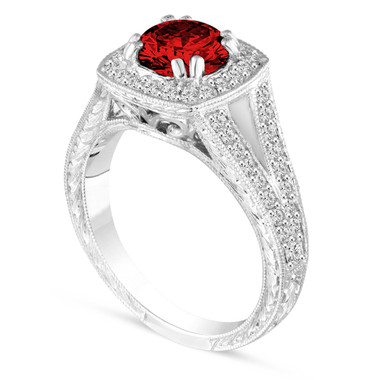 1.56 Carat Red Diamond Engagement Ring, Fancy Wedding Ring Vintage Antique Style Hand Engraved 14K White Gold Unique handmade