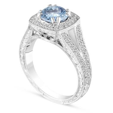 1.46 Carat Aquamarine Engagement Ring, Wedding Ring Vintage Antique Style Hand Engraved 14K White Gold Unique handmade