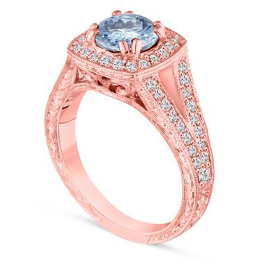 Aquamarine Engagement Ring, 14K Rose Gold Wedding Ring 1.46 Carat Vintage Antique Style Hand Engraved Halo Pave Unique handmade